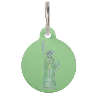 Green NYC New York Lady Statue of Liberty Dog Tag Pet Tags