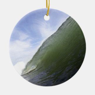 Green ocean surfing wave round ceramic decoration