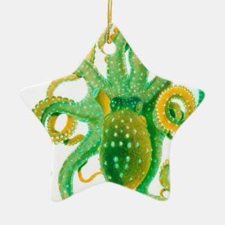 green octopus ceramic star decoration