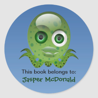 Green Octopus Personalised Labels Round Sticker