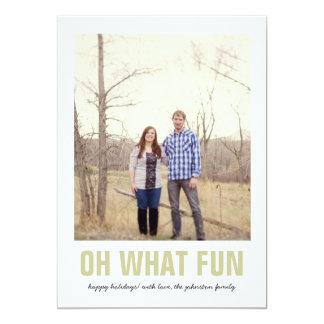 Green Oh What Fun Christmas Photo Flat Cards 13 Cm X 18 Cm Invitation Card
