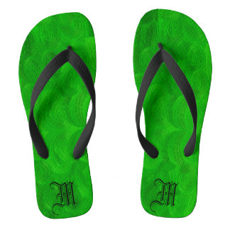 green oil brushed texture . monogram. thongs