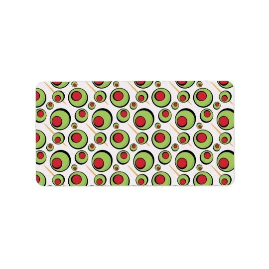 green olives pattern label