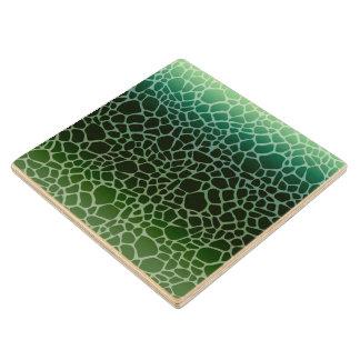 Green Ombre Giraffe Print Wood Coaster