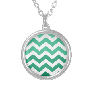 Green Ombre Zigzags Round Pendant Necklace