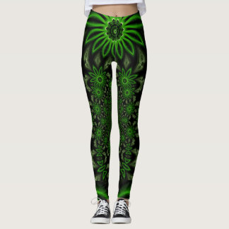 Green on Black Floral Attack Fractal Design Leggings