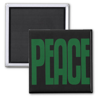 Green on Black Peace Magnet, Text Design Square Magnet