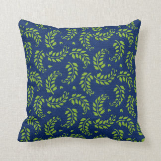 Green on Blue Leaves Fern Fronds Throw Pillow
