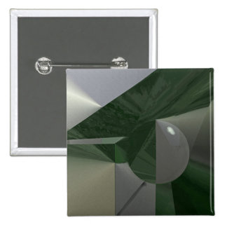 Green on Gray Linear Abstract 15 Cm Square Badge