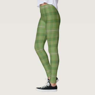 Green On Green Medium Tartan Plaid Leggings
