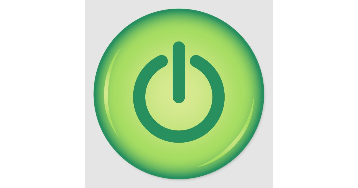 Green On Off Power Button Novelty Stickers Zazzle