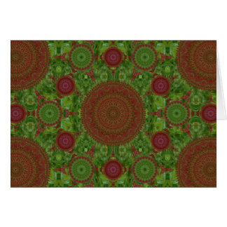 Green on Red Chile Mandala Array Christmas Card