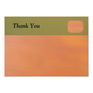 Green on Tan Thank You 5x7 Paper Invitation Card