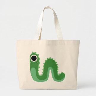 Green One Eyed Snake Monster Jumbo Tote Bag