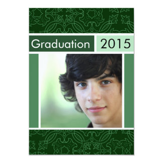 "Green Open House Party Graduation Invitations 5"" X 7"" Invitation Card"