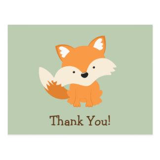 Green & Orange Baby Fox Thank You Post Cards
