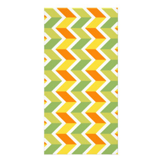 Green Orange Chevron Pattern Zig Zag Design Art Customised Photo Card