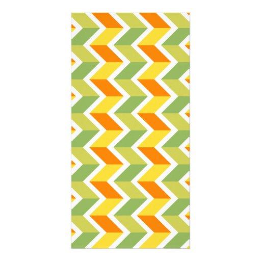 Green Orange Chevron Pattern Zig Zag Design Art Photo Card Template