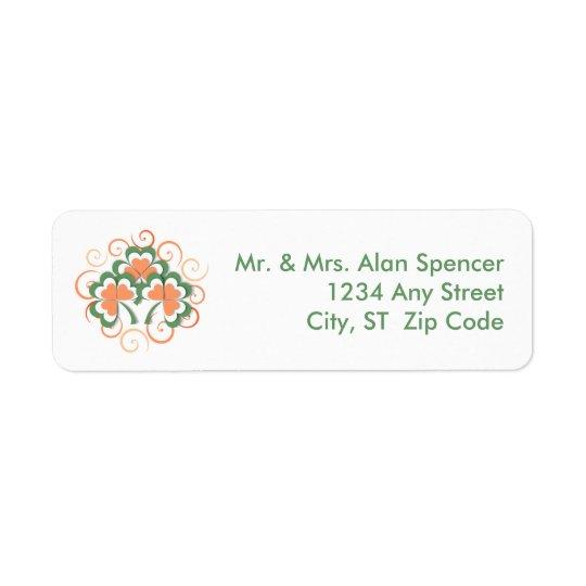 Green Orange Clover Swirl St. Patrick's Day Return Address Label