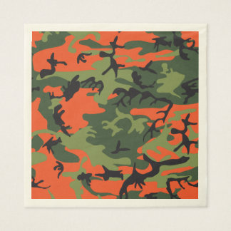 Green Orange Forest Camouflage. Camo your Paper Serviettes