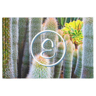 Green & orange fuzzy cacti photo custom monogram doormat