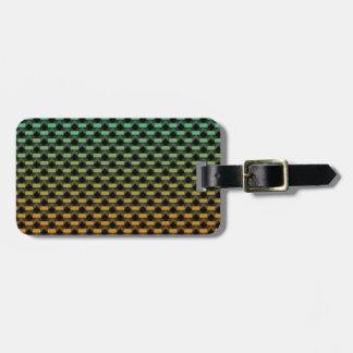 Green Orange Geometric Gradient Luggage Tag