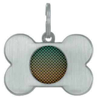 Green Orange Geometric Gradient Pet Name Tag