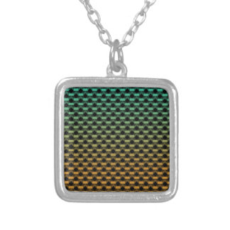 Green Orange Geometric Gradient Silver Plated Necklace