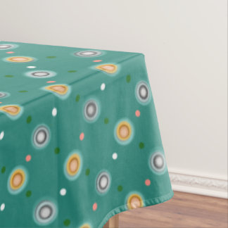 Green & Orange Polka Dot Patterned Tablecloth