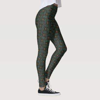 Green & Orange Spirals Leggings