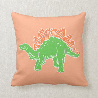 Green & Orange Stegosaurus Light Orange Pillow