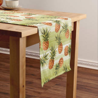 Green Orange Tropical Pineapple Fruit Pattern Long Table Runner
