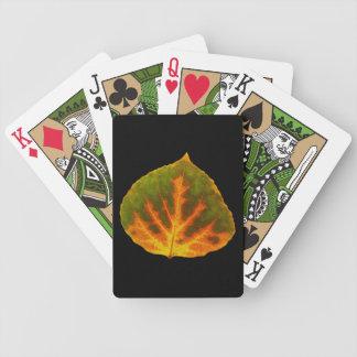 Green Orange & Yellow Aspen Leaf #1 Bicycle Playing Cards