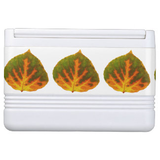 Green Orange & Yellow Aspen Leaf #1 Cooler