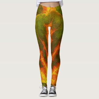 Green Orange & Yellow Aspen Leaf #1 Leggings