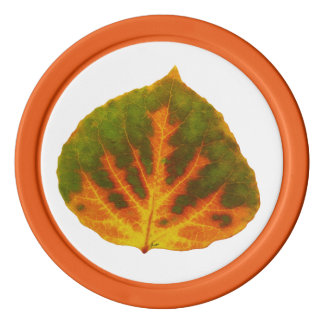 Green Orange & Yellow Aspen Leaf #1 Poker Chips
