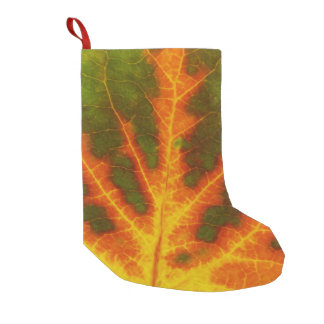Green Orange & Yellow Aspen Leaf #1 Small Christmas Stocking
