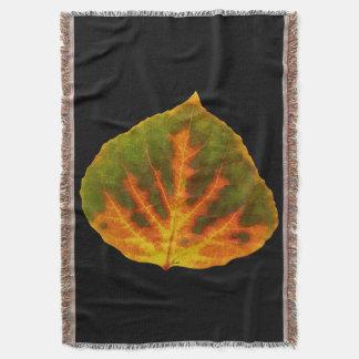 Green Orange & Yellow Aspen Leaf #1 Throw Blanket