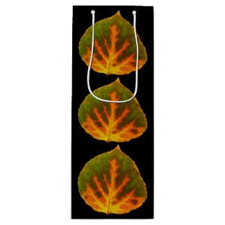 Green Orange & Yellow Aspen Leaf #1 Wine Gift Bag