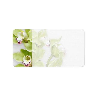 Green Orchid Blank Wedding Address Labels