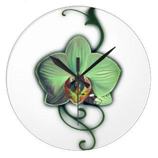 Green Orchid design wall clock