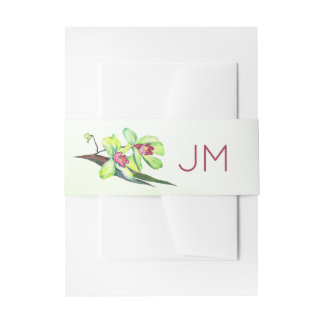 Green Orchids Monogram Wedding Invitation Belly Band