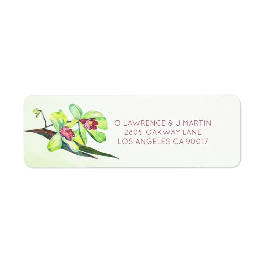 Green Orchids Watercolor Floral Return Address Label
