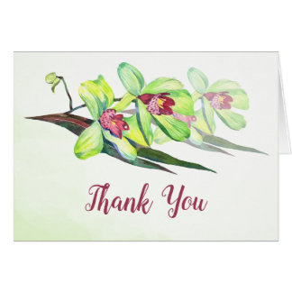 Green Orchids Watercolor Thank You Card