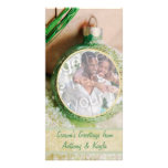 Green Ornament And Snow Photo Holiday Card Personalised Photo Card