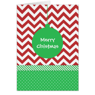 Green Ornament on Red and White Chevron Card