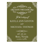 Green Ornate Flourish Save the Date Post Card