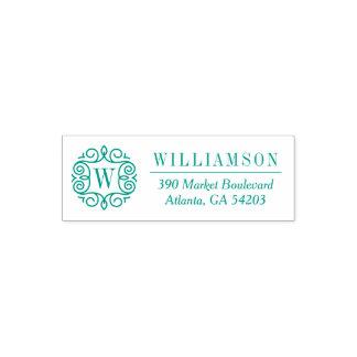 Green Ornate Monogram Family Name Return Address Self-inking Stamp