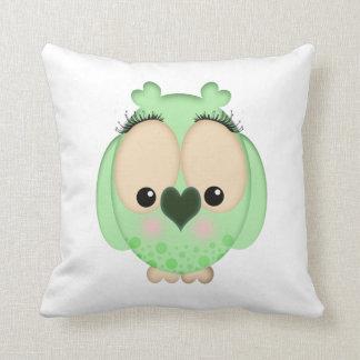 Green Owl American MoJo Pillow