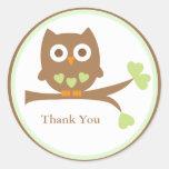 Green Owl Baby Shower Envelope Seals Sticker
